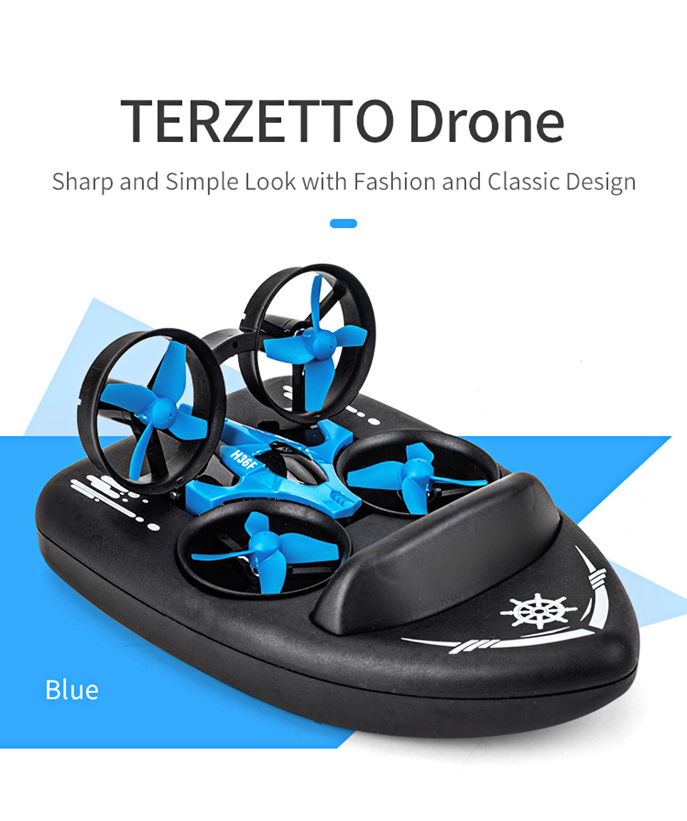 JJRC H36F RC Drone + Hovercraft Land Mode Multi-function 3-in-1 Toy Headless Mode / Speed Switching- Dodger Blue 1 Battery