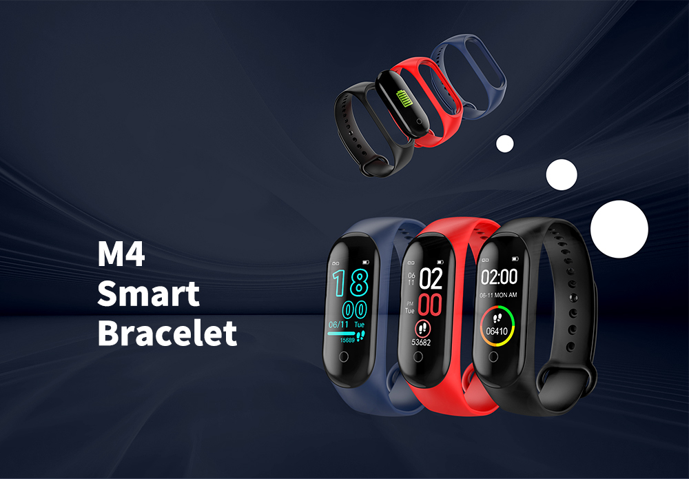 M4 Healthy Management / Heart Rate / Blood Oxygen / Sleep Monitoring Smart Bracelet- Black