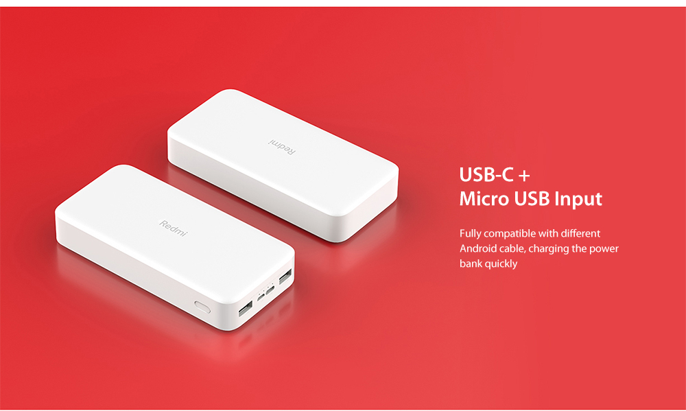Xiaomi PB200LZM Redmi Power Bank 20000mAh Dual Input / Output Ports / 18W Charging Fast Charge Version- White