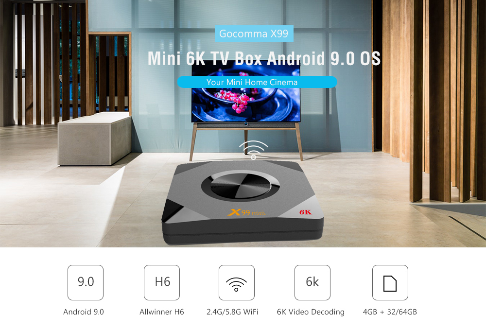 Gearbest Gocomma X99 Mini 6K TV Box Android 9.0 OS