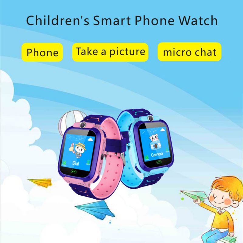 Q12B 1.44 inch Touch Screen Kids Smart Phone Watch Front-facing Camera SOS Call Safety Zone Alarm- Pink