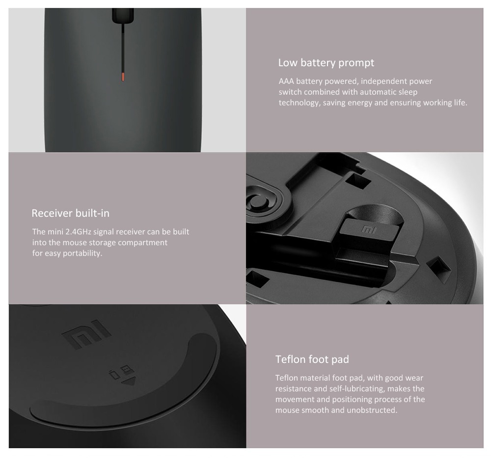 Xiaomi Wireless Mouse Lite 2.4GHz 1000DPI- Black
