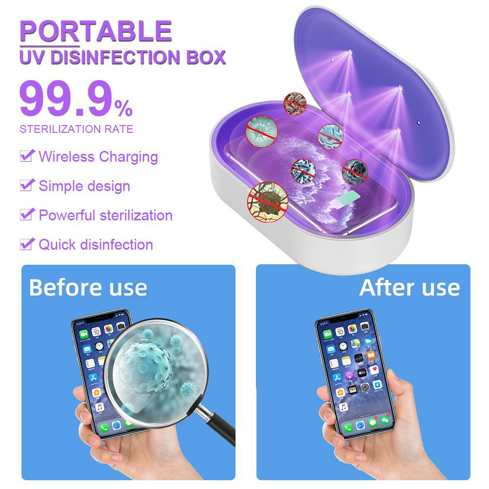 Multifunctional UV Sterilization Box Wireless Fast Charging Portable Mobile Phone Cosmetics Ultraviolet Disinfection Lamp - White