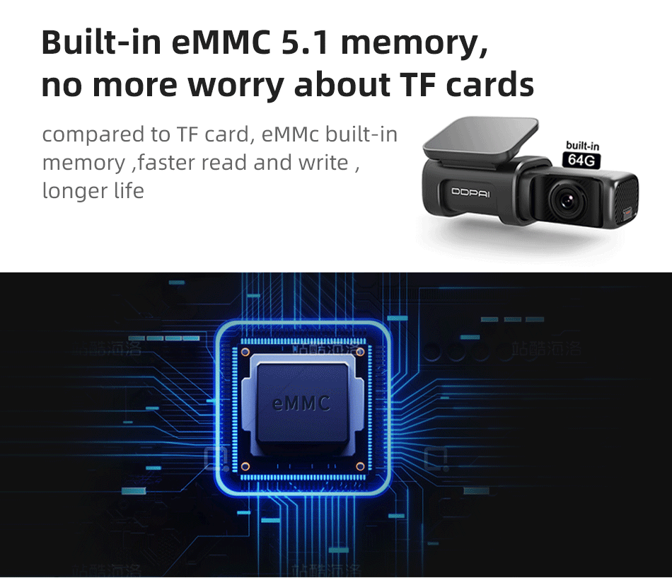 DDPAI MINI 5 2160P 4K Built In 64GB EMMC Dash Cam Car DVR Built-in EMMC 5.1 memory, no more worry about TF cards