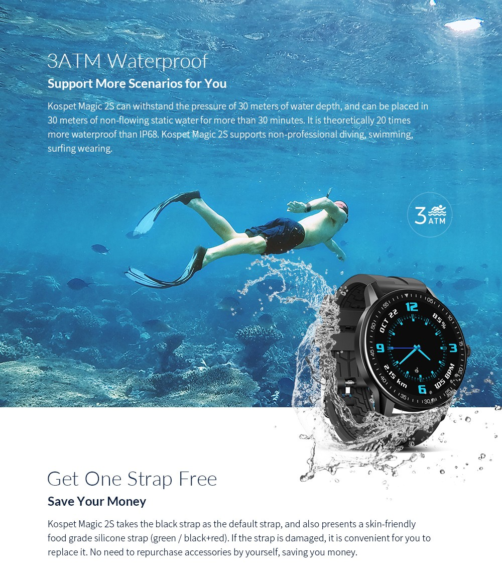 Kospet MAGIC 2S 1.3 inch Smart Watch 3ATM Waterproof