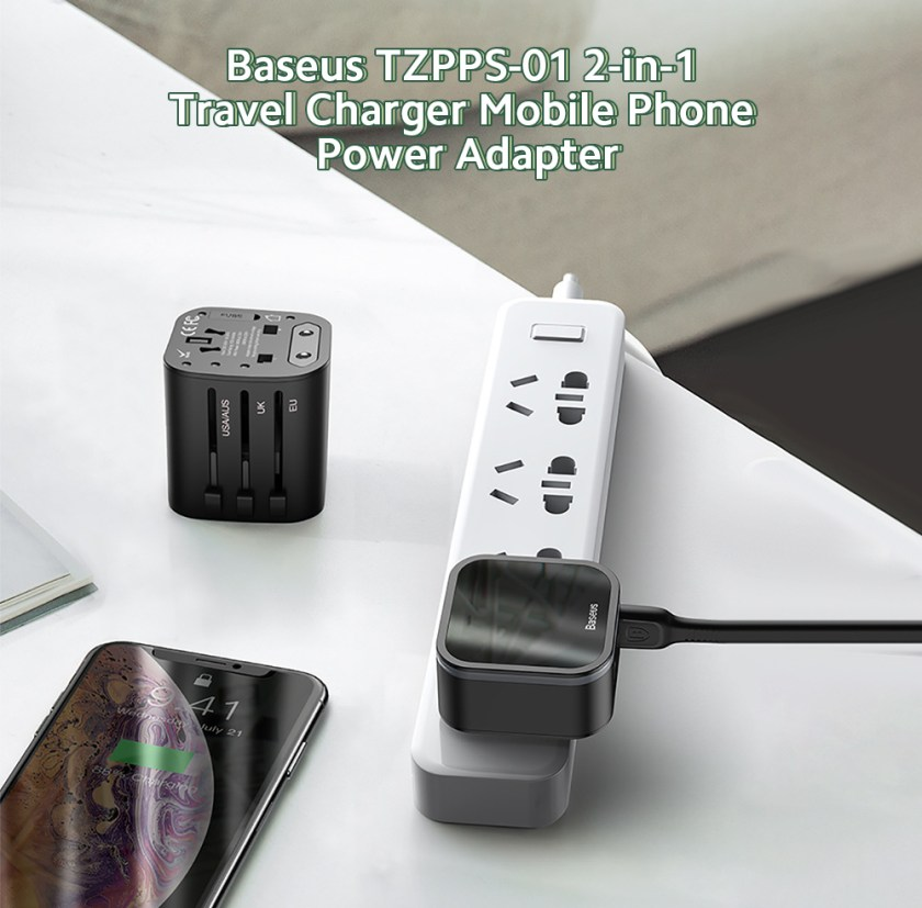 Baseus TZPPS-01 Travel Charger Mobile Phone Power Adapter Direct Charge PPS 2-in-1 Global Communication Socket 18W Fast Charging Set - Black