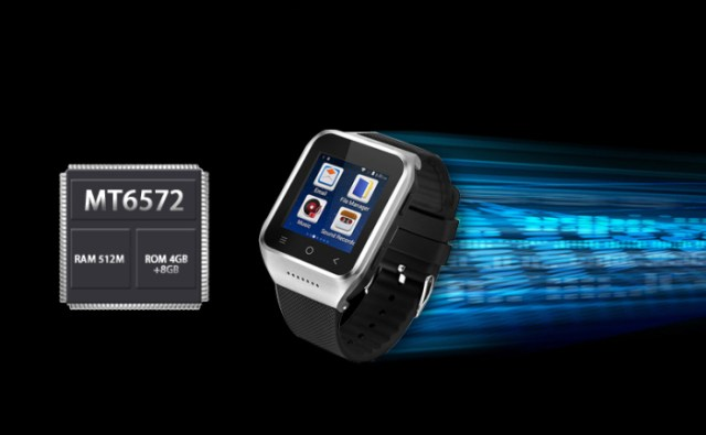 ZGPAX S8 3G Android 4.4 Smart Watch Phone MTK6572 Dual Core 1.0GHz with 1.54 inch Touch Screen Single SIM Bluetooth Camera MP3 MP4