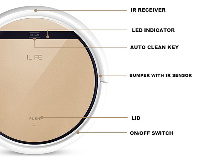 ILIFE V5 Pro Intelligent Robotic Vacuum Cleaner Cordless 2 in 1 Dry Wet Sweeping Cleaning Machine