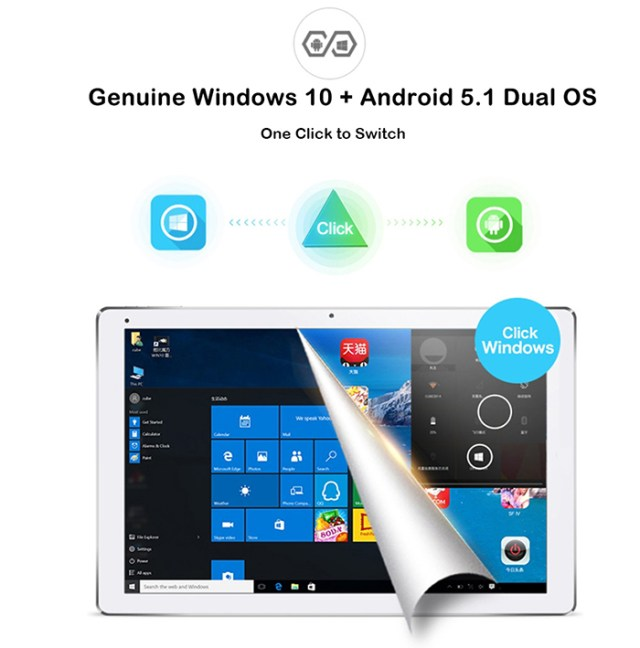 CUBE iwork12 2 in 1 Tablet PC 12.2 inch Windows 10 + Android 5.1 IPS Screen Intel Cherry Trail Z8300 64bit Quad Core 1.44GHz 4GB RAM 64GB ROM Bluetooth 4.0