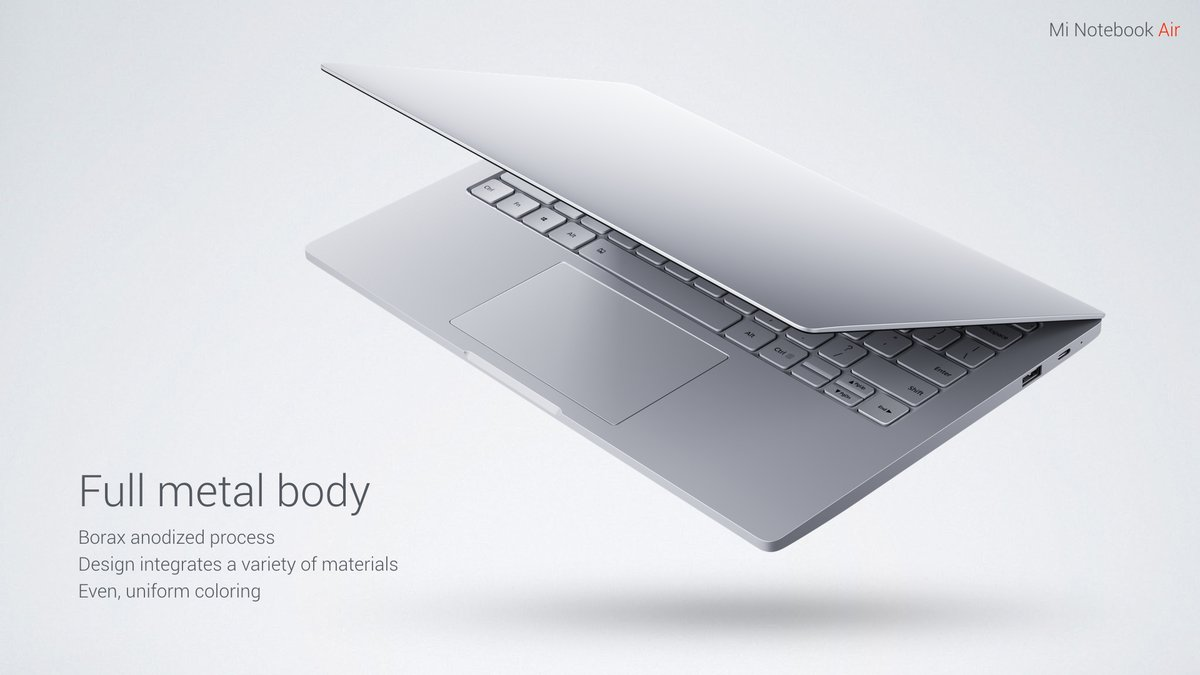 Xiaomi Air 13 Notebook Windows 10 Intel Core i5-6200u Dual Core 2.3GHz 13.3 inch IPS Screen 8GB RAM 256GB SSD Front Camera Bluetooth 4.1 Type-C
