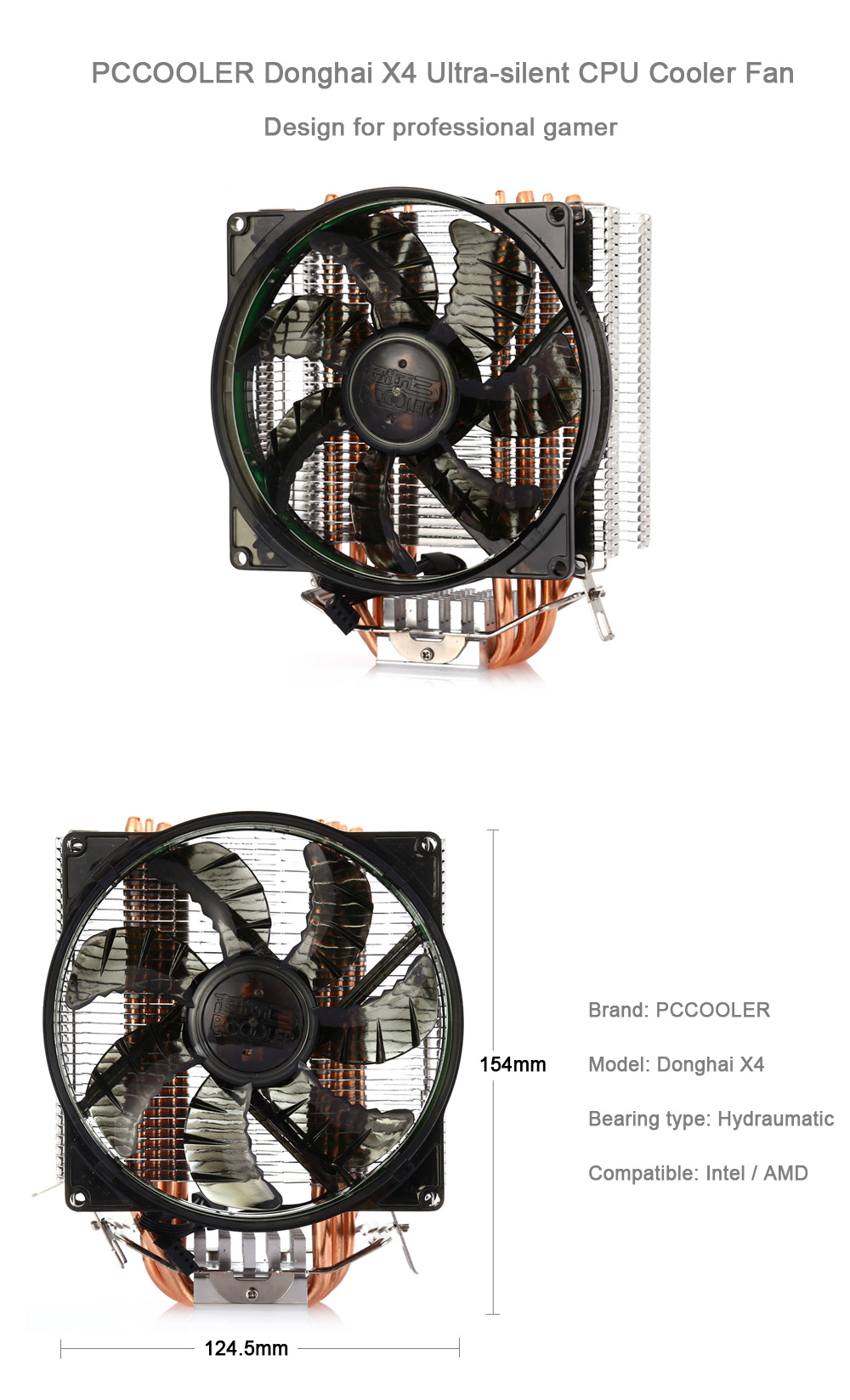 PCCOOLER Donghai X4 Desktop CPU Cooling Fan Compatible with Intel / AMD