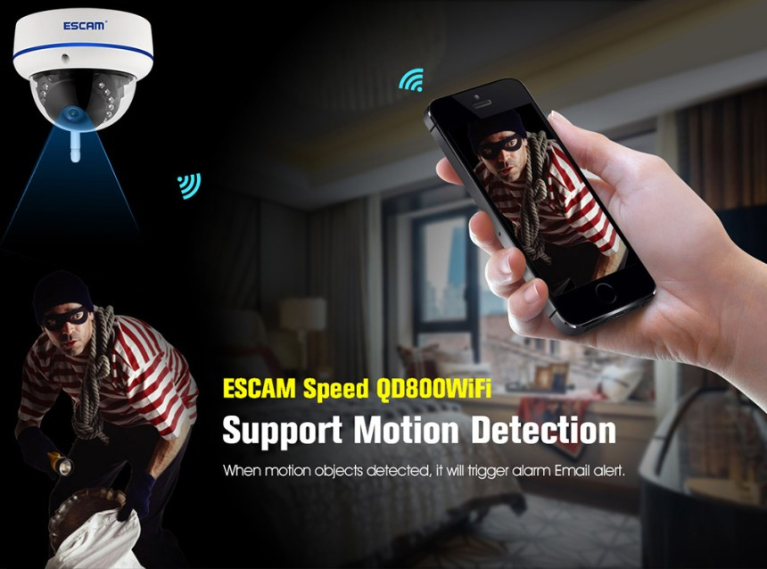 ESCAM Speed QD800WiFi 1080P FHD H.264 2.0MP Network IP Dome Camera Night Vision