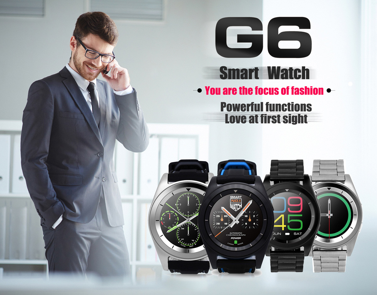 NO.1 G6 Bluetooth 4.0 Moniteur de fréquence cardiaque PSG montre Smart Watch
