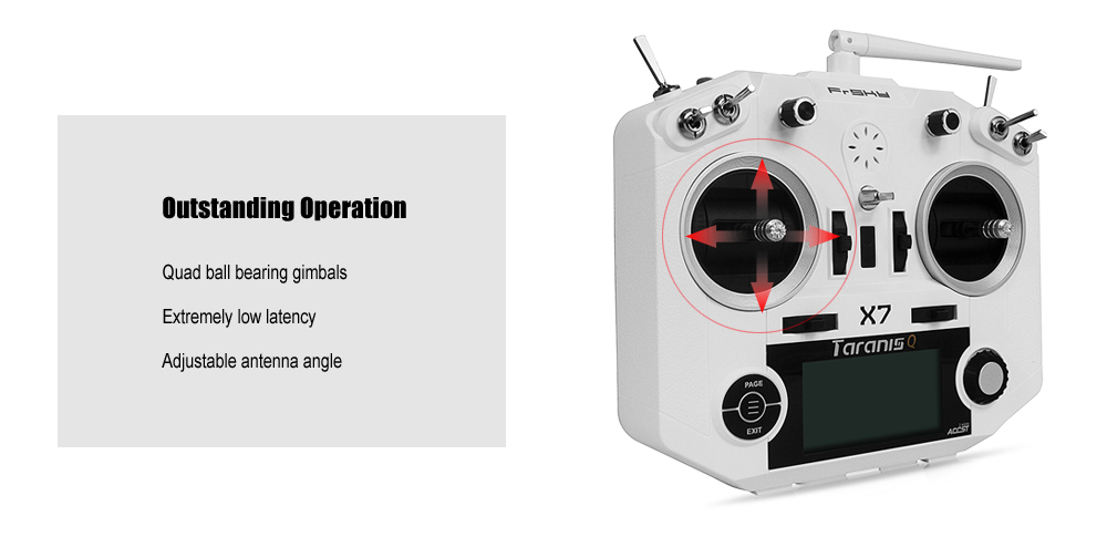 FrSky TARANIS Q X7 2.4GHz 7CH Transmitter with Quad Ball Bearing Gimbals / OpenTX Firmware / Flight Data Logging
