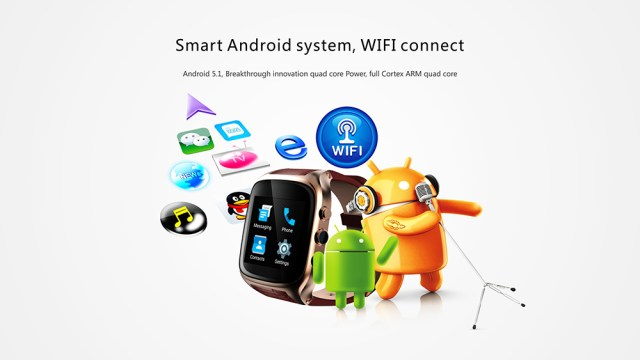 iMacwear M8 3G Smartwatch Phone 1.54 inch Android 5.1 MTK6572 1.3GHz Dual Core 1GB RAM 8GB ROM 2.0MP Camera Heart Rate Measurement Pedometer GPS