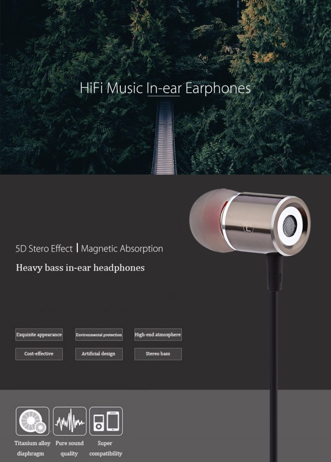 Cylindrical Shape HiFi Music In-ear Earphones with Magnetic Attachment