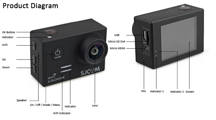 Original SJCAM SJ5000X 4K WiFi 2 inches LCD Display 170 Degree Wide View Angle 12.0 Megapixel Sport DV with NTK96660 Novatek and CMOS Image Sensor ( Elite Edition )