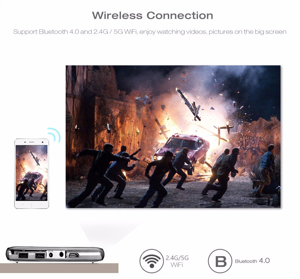 D02 DLP Mini Projector 16GB 1000 Lumens Android 4.4 Bluetooth 4.0 2.4G / 5G WiFi Airplay HD Media Player