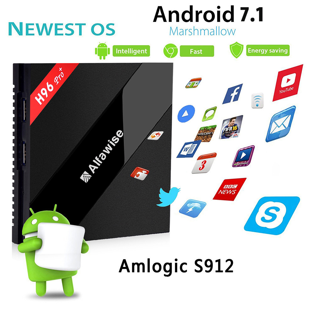 Alfawise H96 Pro + TV Box Amlogic S912 Octa Core CPU Android OS 6.0 BT 4.1 + 2.4GHz 5.0GHz WiFi Mini PC