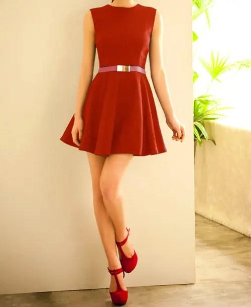 Zipper Sleeveless Simple Style Polyester Round Neck Women's Dress (Without Belt)