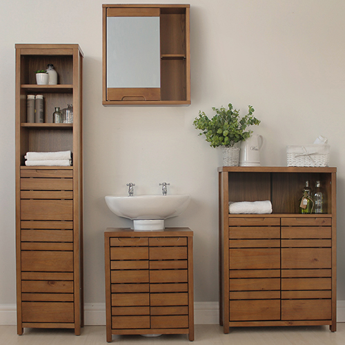 STORE Dark Wood Chiltern Bathroom Storage Furniture