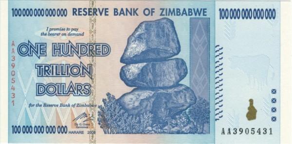 A nota mais alta é de cem biliões de dólares zimbabuanos DR