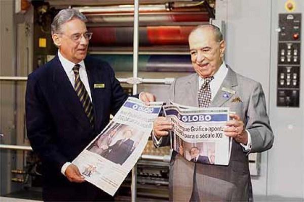 FHC e Roberto Marinho comemoram nova gráfica do Globo, financiada com dinheiro público