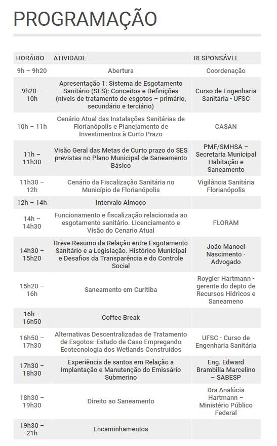 PROGRAMAÇÃO SEMINARIO TECNICO JULHO 2016
