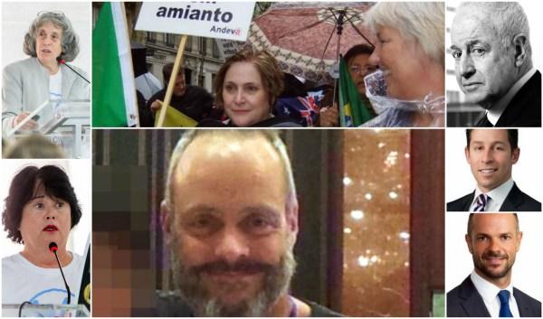 À esquerda, Laurie Kazan-Allen (topo) e Linda Reinstein. Ao centro, Fernanda Giannasi, símbolo da luta antiamianto no Brasil, e Rob Moore, o espião contratado pela K2. De cima para baixo, Jules Kroll (presidente do Conselho), Jeremy Kroll (CEO) e Matteo Bigazzi, o diretor-executivo da K2, em Londres. Jules é o fundador da famosa Kroll Inc. Bigazzi também trabalhou na Kroll antes de ir para a K2
