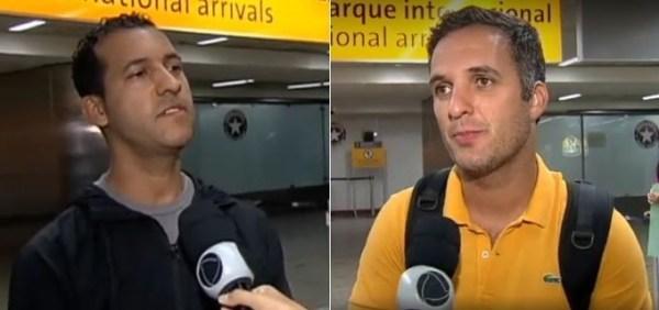 Gilson Fred Oliveira (à esq.) e Leandro Stoliar ao desembarcar no Brasil na segunda (13)
