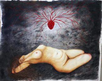 Mulher Lua - Acrílica e bordado sobre tela, de Paula Schlindwein (Foto: Reprodução)