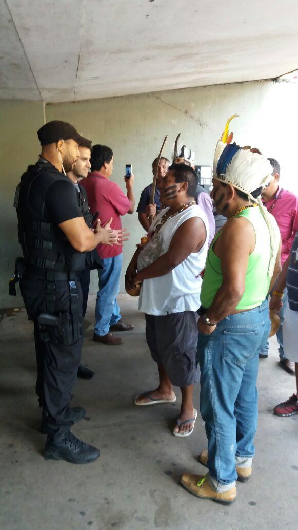 Indígenas do Sul do país em protesto hoje em Brasília. Foto: Ivan Cima.