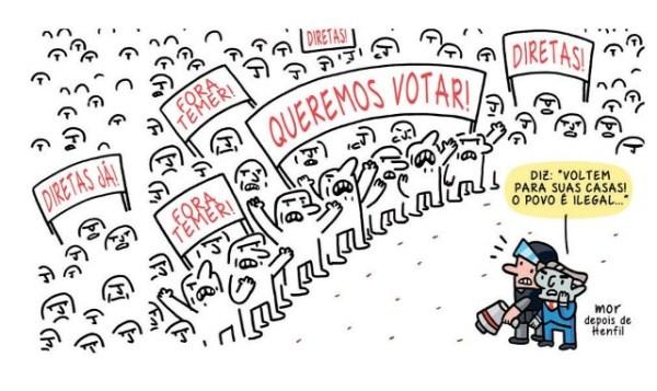 Charge de Claudio Mor publicada no jornal Folha de S. Paulo de 19/5/2017.
