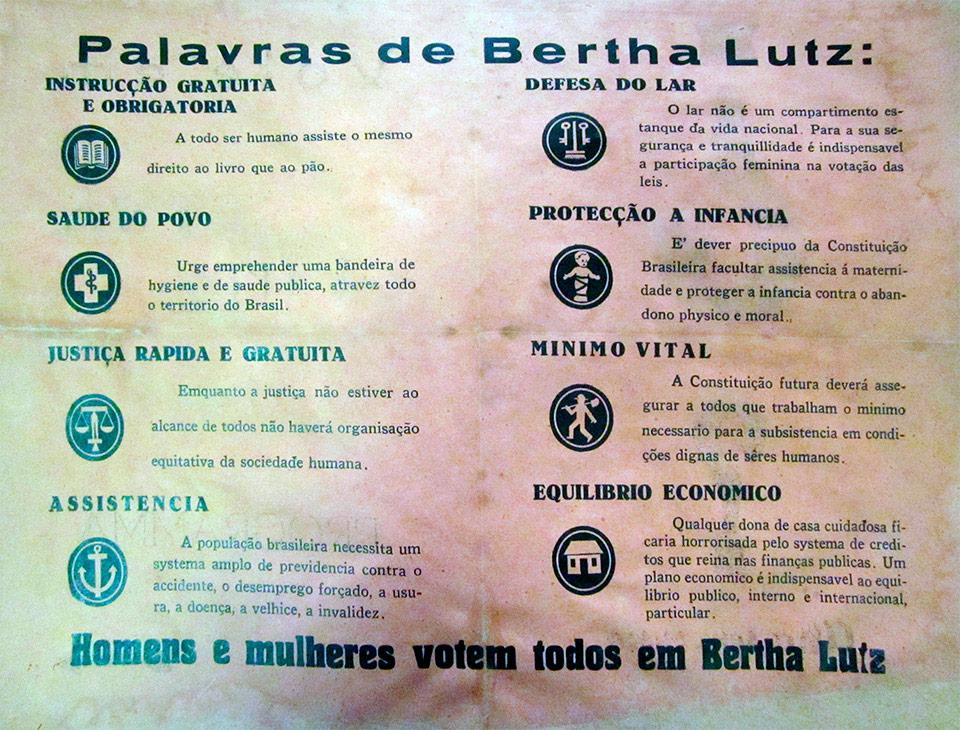 """""""Santinho"""" da campanha de Bertha Lutz à Assembleia Nacional Constituinte, de 1934, pelo Partido Autonomista do Distrito Federal."""