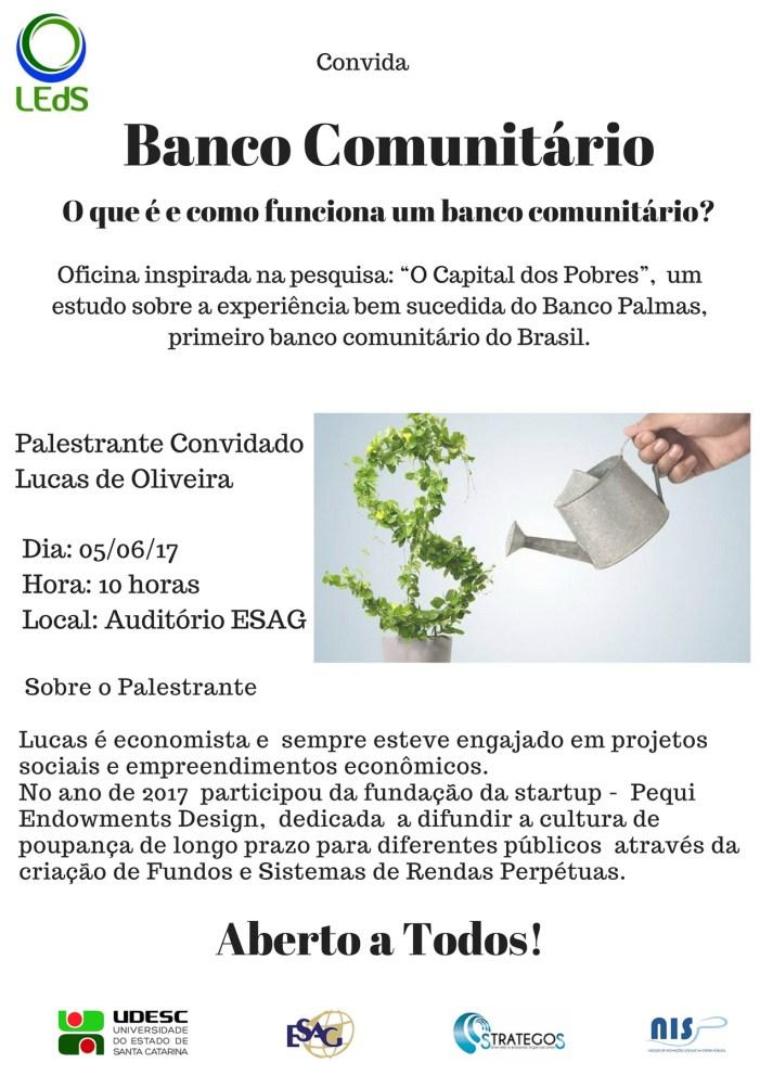 Udesc recebe oficina sobre banco comunitário e finanças solidárias na próxima segunda, na Capital