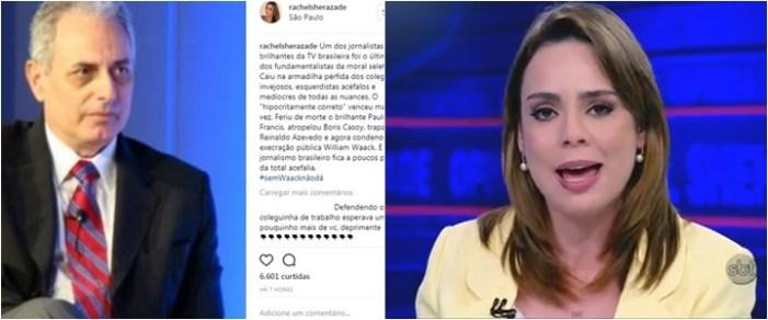 Rachel Sheherazade discute com os próprios seguidores após defender Waack