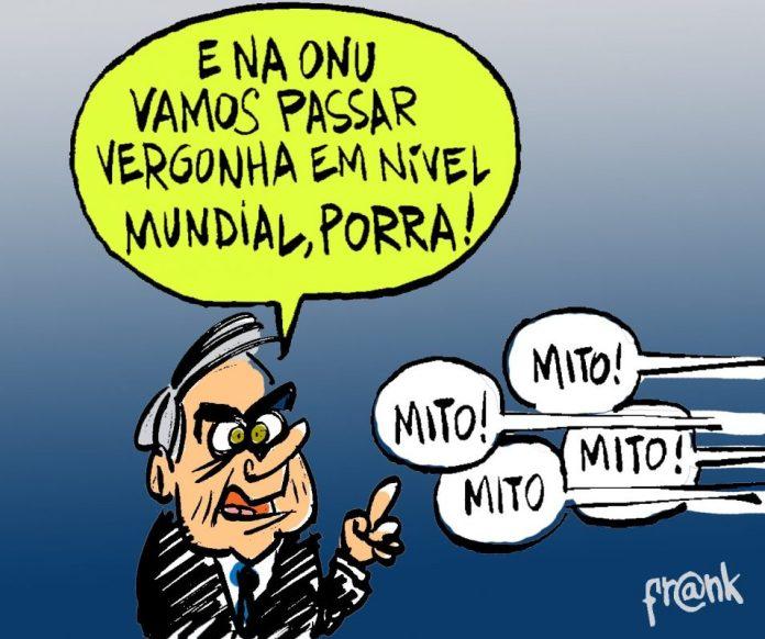 Vergonha mundial do Brasil na ONU. A charge de Frank Maia | Desacato