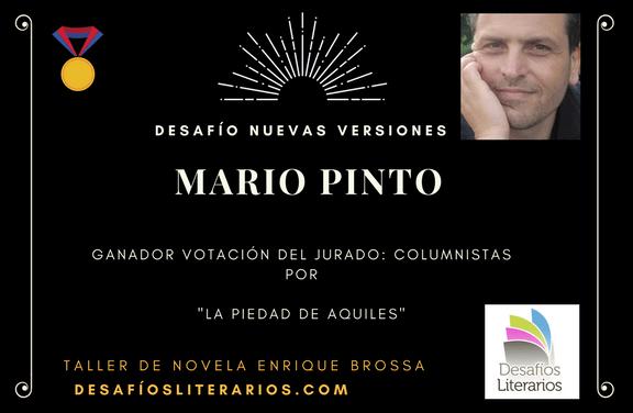 """Mario Pinto, premio DesafiosLiterarios.com """"NUEVAS VERSIONES"""""""
