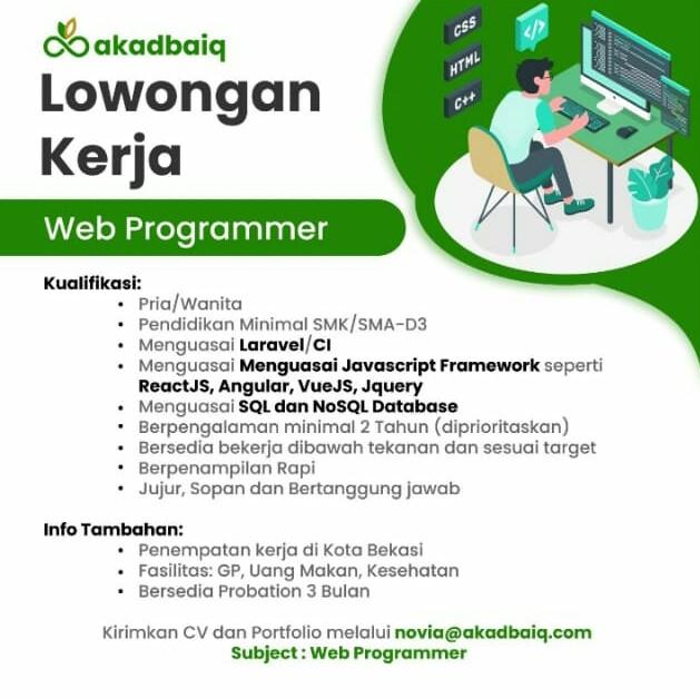 lowongan web programmer Akadbaiq