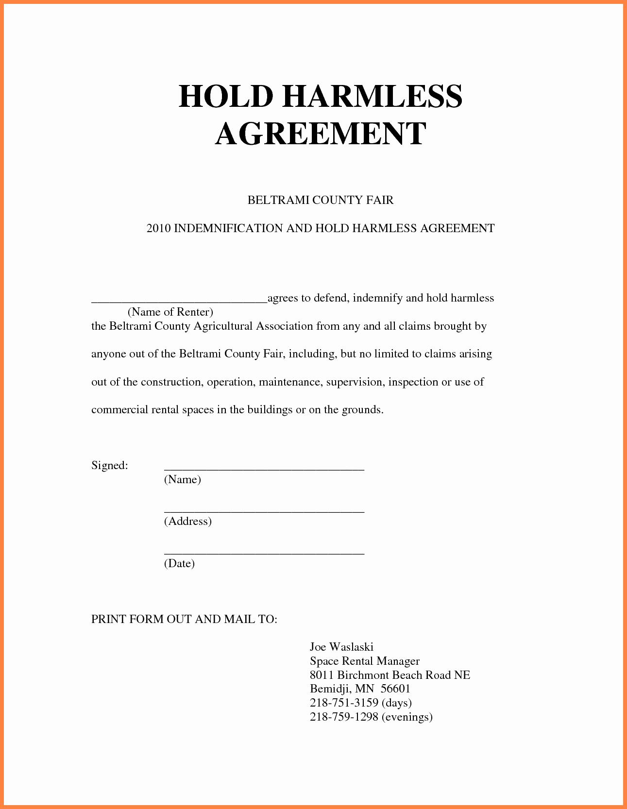 40 Simple Hold Harmless Agreement