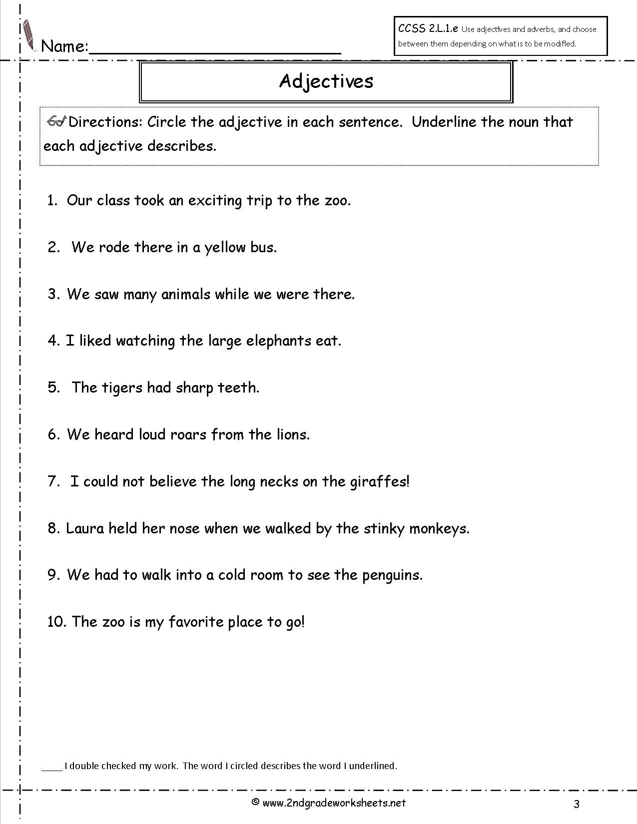 20 Adjectives Worksheet 2nd Grade