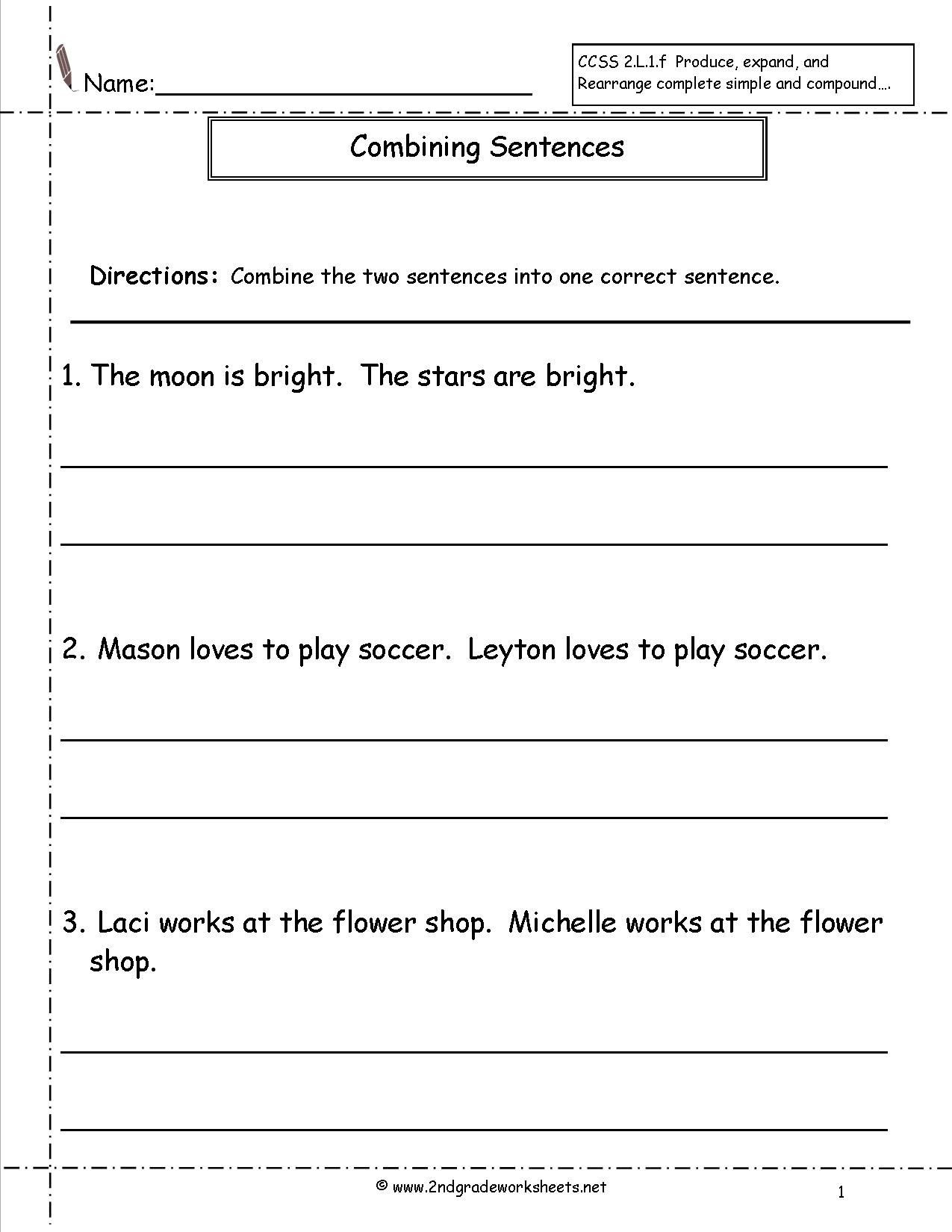 20 Combining Sentences Worksheet 3rd Grade