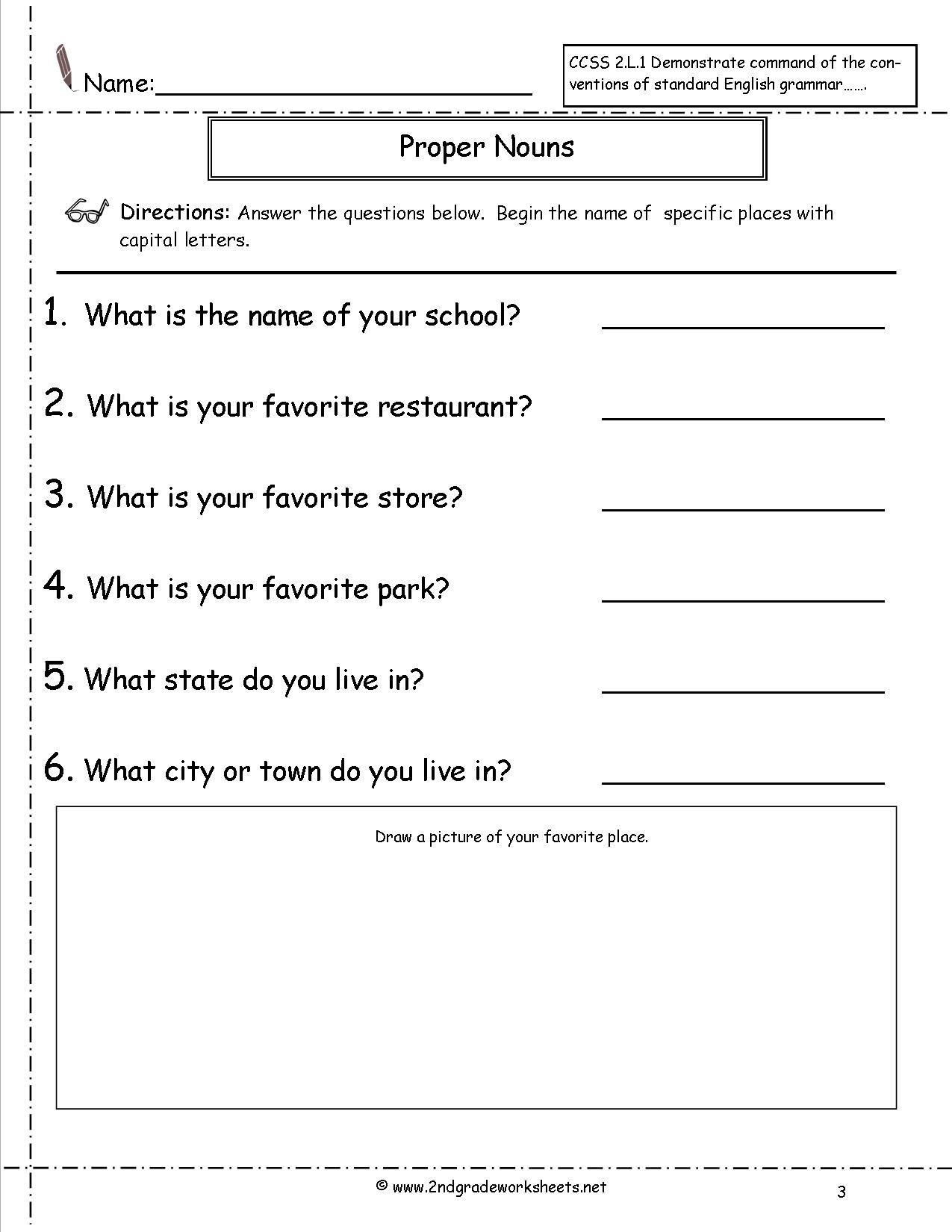20 Proper Nouns Worksheet 2nd Grade