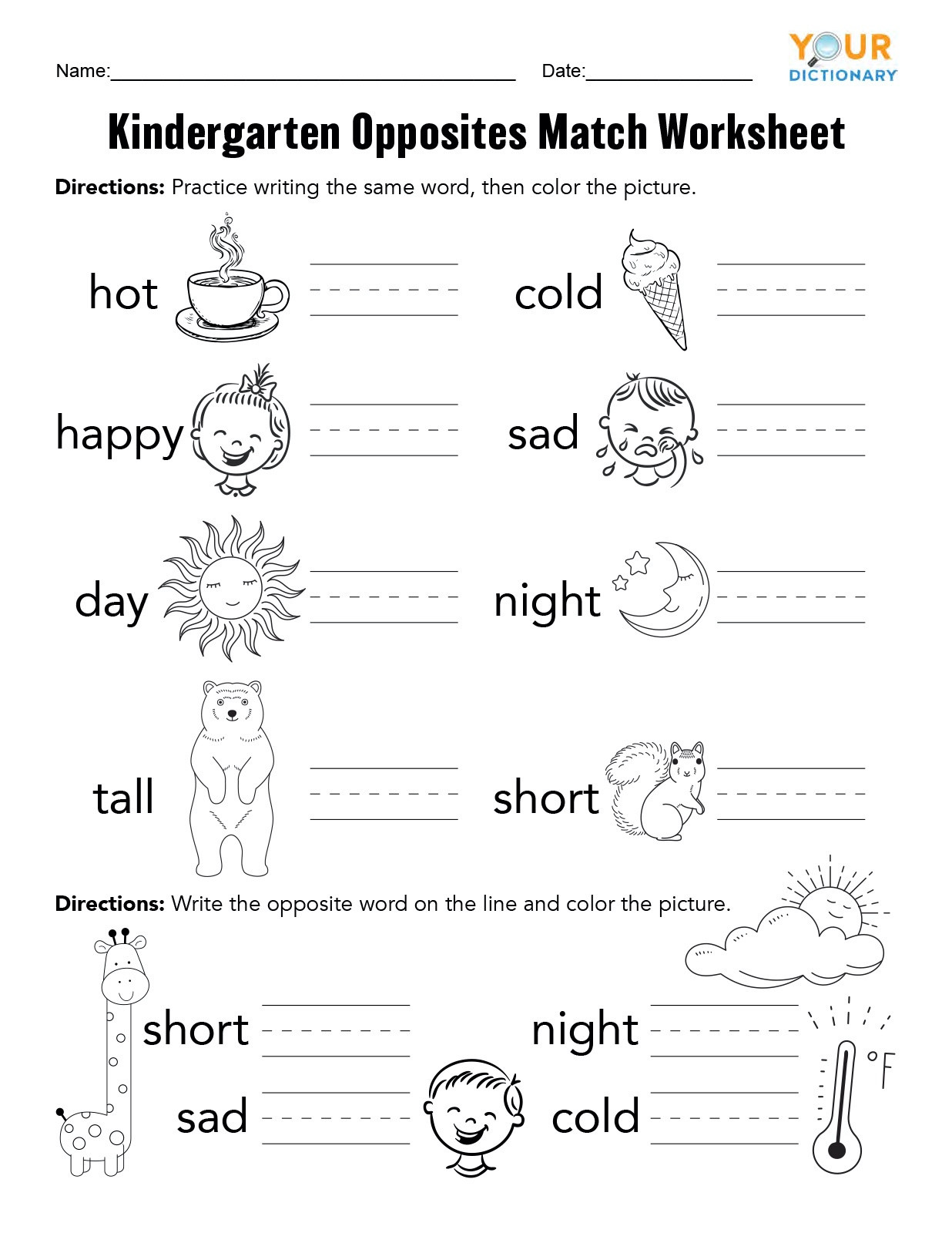 20 Preschool Opposite Worksheet