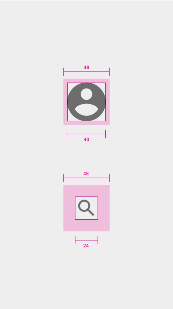 métricas material design android layouts