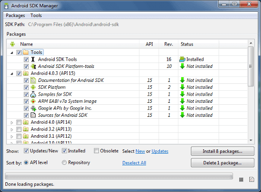 añadir paquetes del sdk