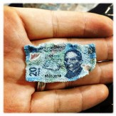 Billete de $20 chicharronizado
