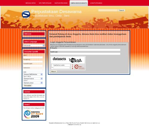 Template SLiMS - Sebelas Patriot - Login Pemustaka