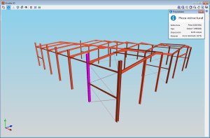 CYPE 3D. Vista 3D de la estructura. Información de elementos estructurales