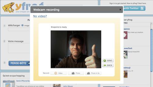 yfrog Yfrog: enregistrez une vidéo avec votre webcam et partagez la sur Twitter